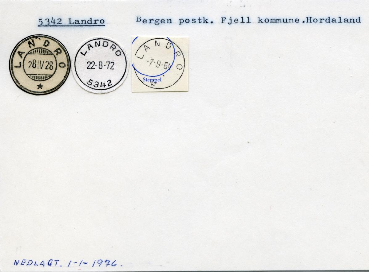 Stempelkatalog 5342 Landro, Bergen, Fjell, Hordaland