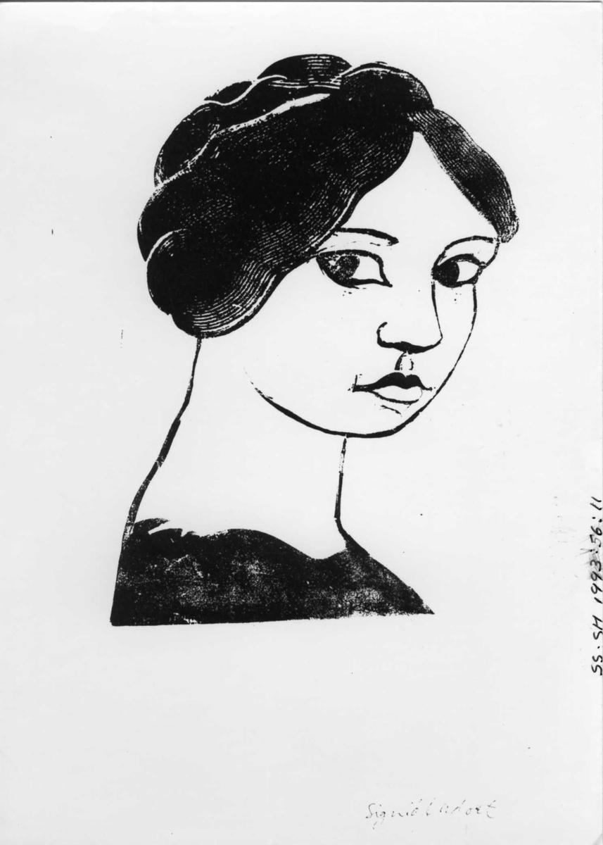 Grafikk, kvinne, portrett