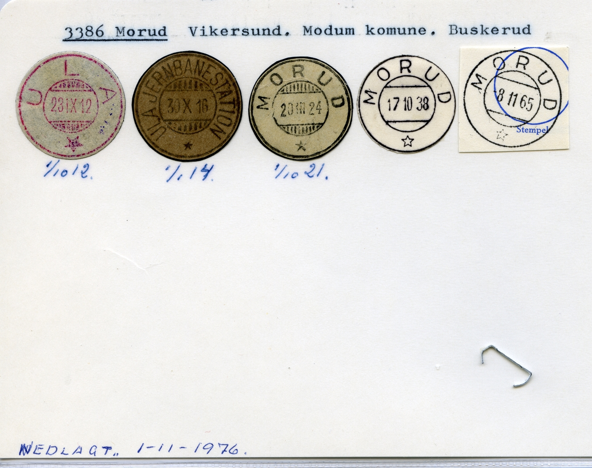 Stempelkatalog  3386 Morud, Modum kommune, Buskerud (Ula 1.10.1912, Ula Jernbanestation 1.1.1914)