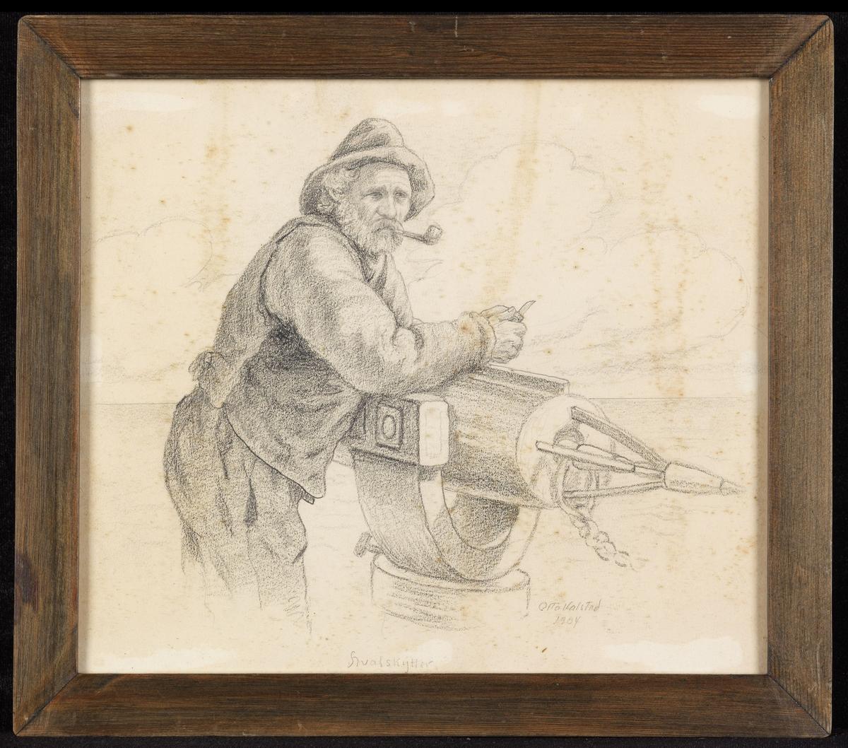 Skjegget mann, knestk., høyrev., lenet på harpun