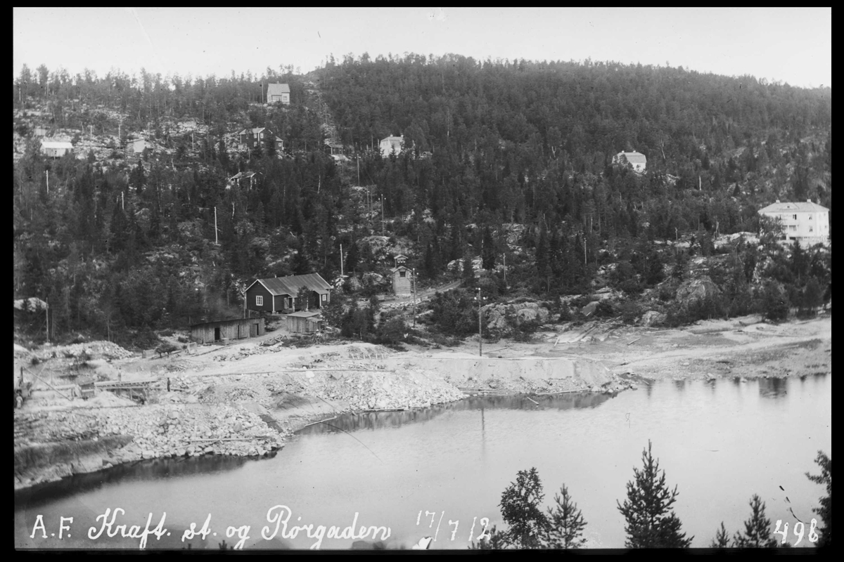 Arendal Fossekompani i begynnelsen av 1900-tallet CD merket 0469, Bilde: 1 Sted: Bøylefoss Beskrivelse: Kraftstasjonstomta