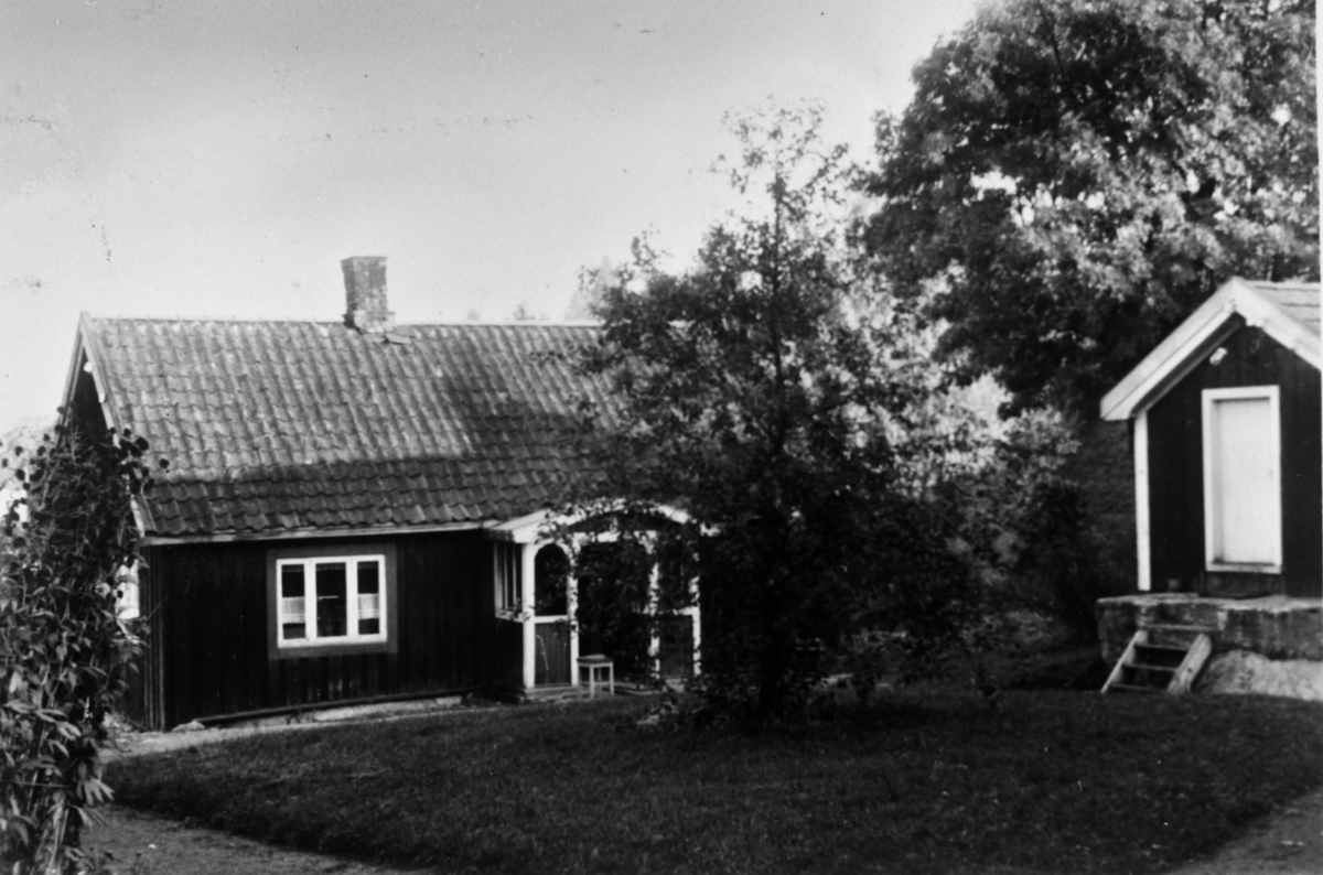 Huset Bastiansberget, inngangsparti bygning ved siden av løvrike trær