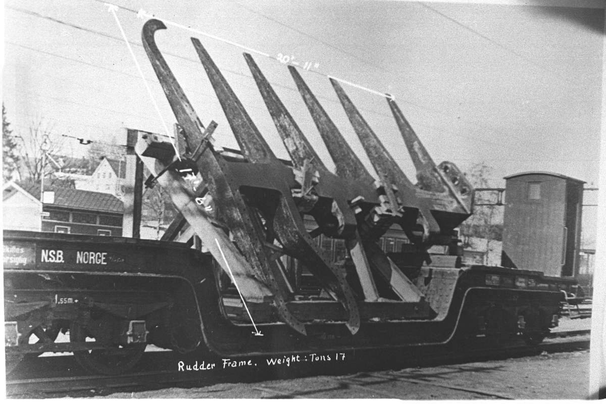 Den største rorramme som var gjort på Strømmen Verksted til da.