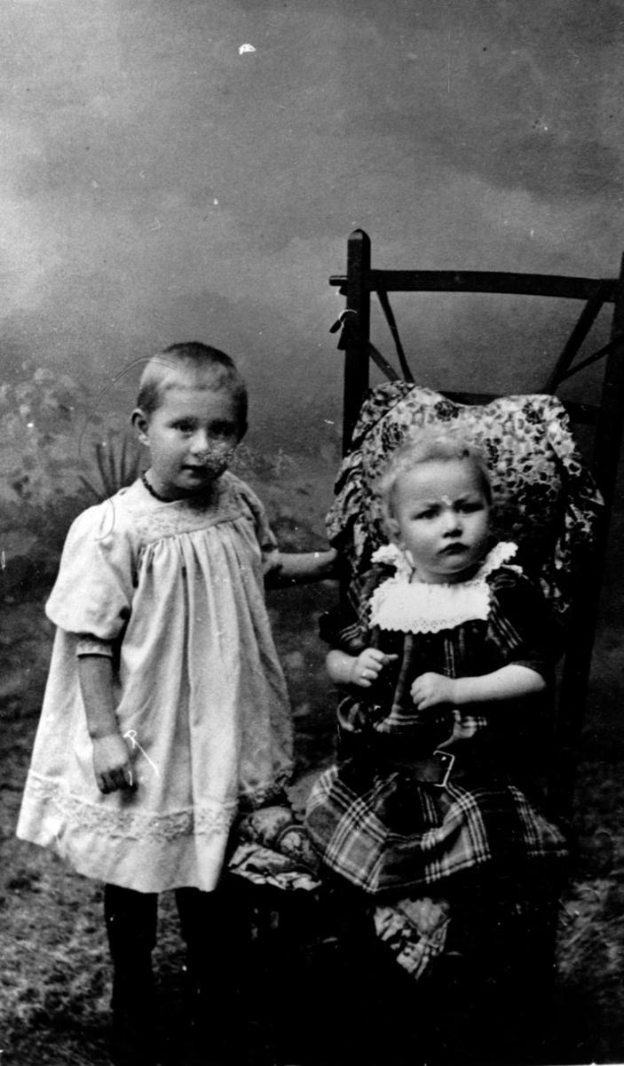 Portrett av 2 søsken.