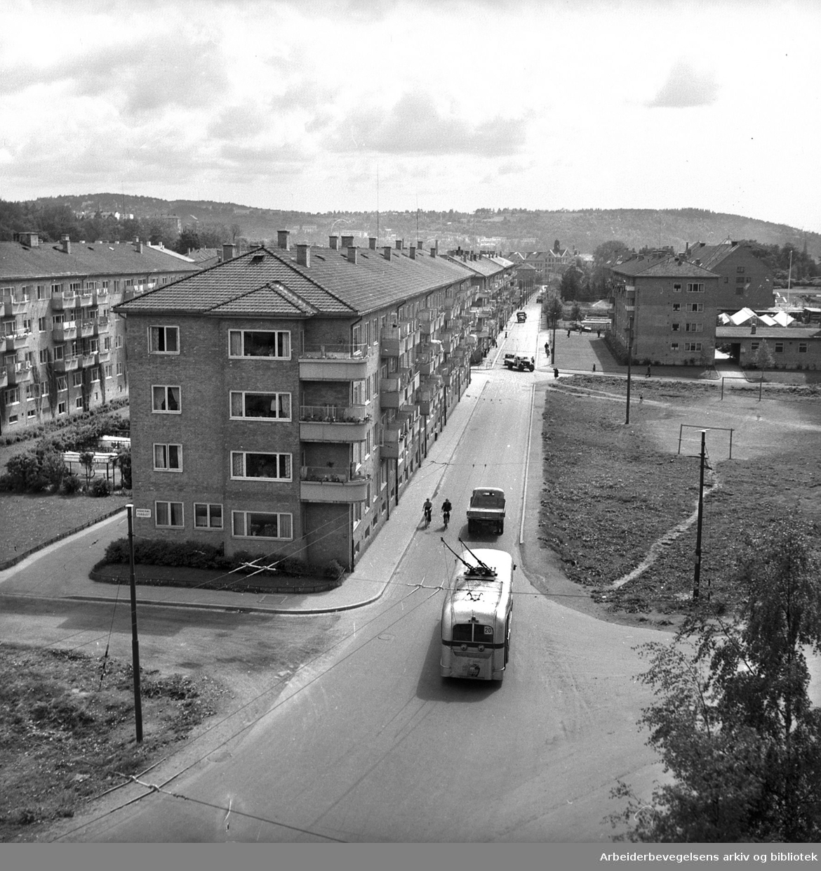 Trolleybuss i Monrads gate, juni 1951
