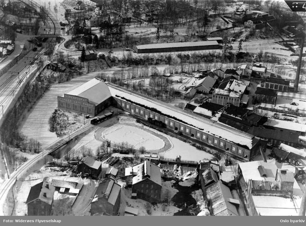 Lysaker kemiske fabrikk, Lilleakerveien 2, Mølledammen, Lysakerelven (Flyfoto)