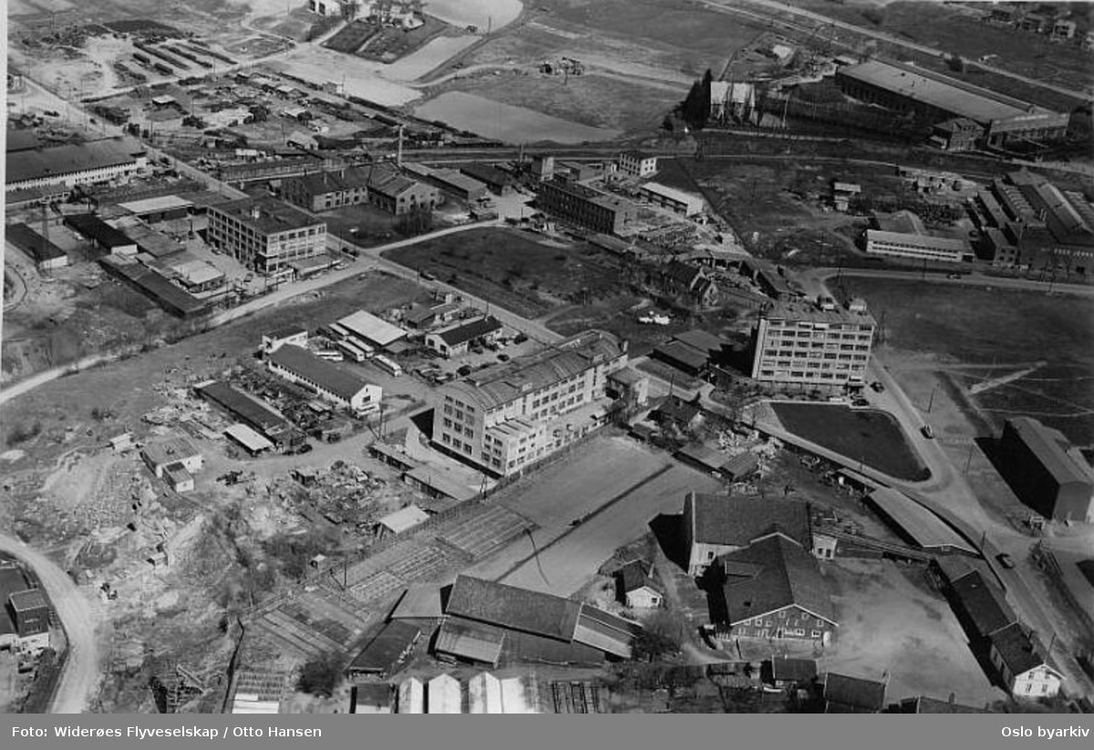 Sandakerveien 102, Foss jernstøperi, Erik Ruuds mekaniske fabrikk (Flyfoto)