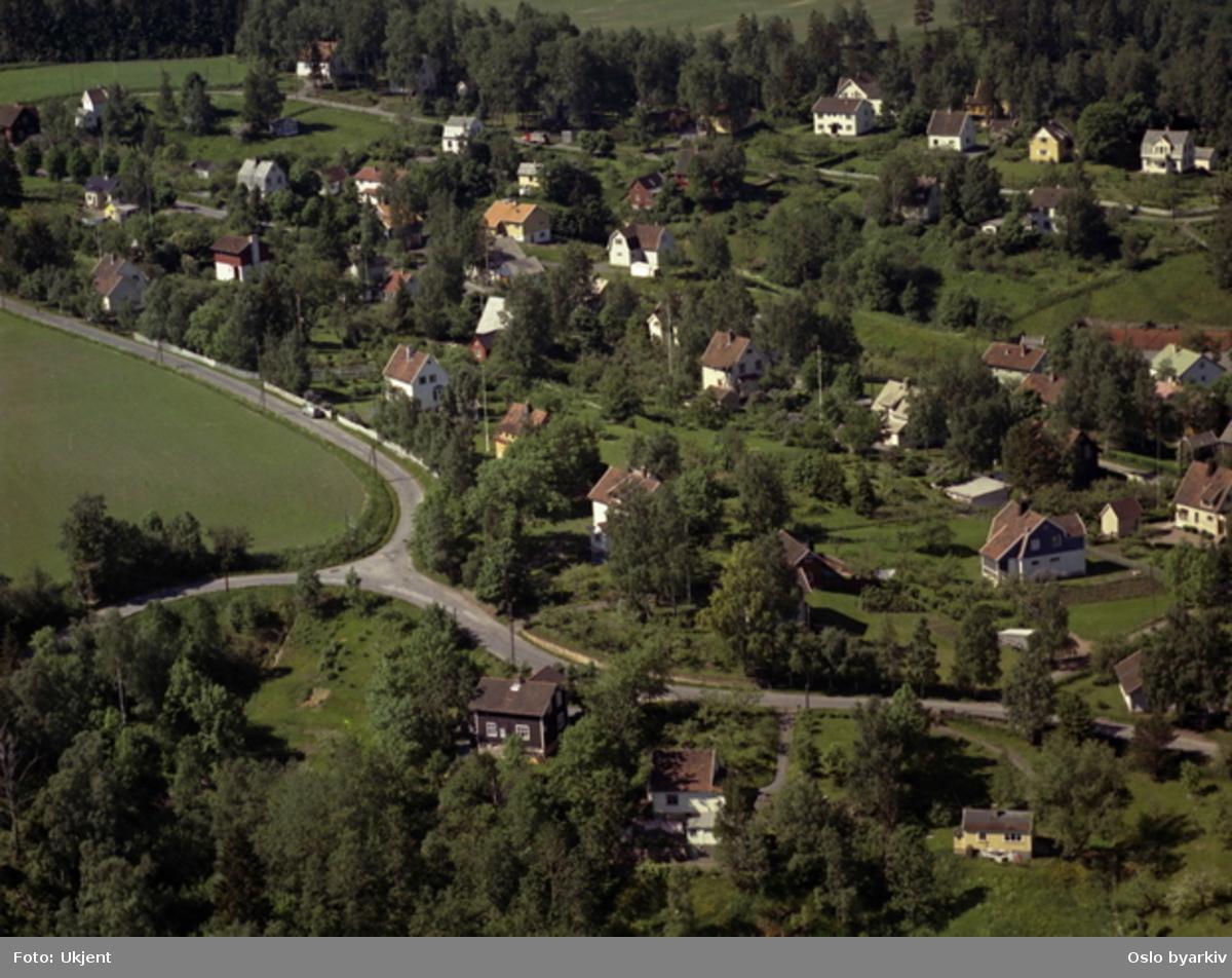 Villabebyggelse. Kryss Grorudveien Ulsholtveien. Lerkeveien i bakgrunnen. Så vidt synlig, midt i bildet, Furuset allé. (Flyfoto)