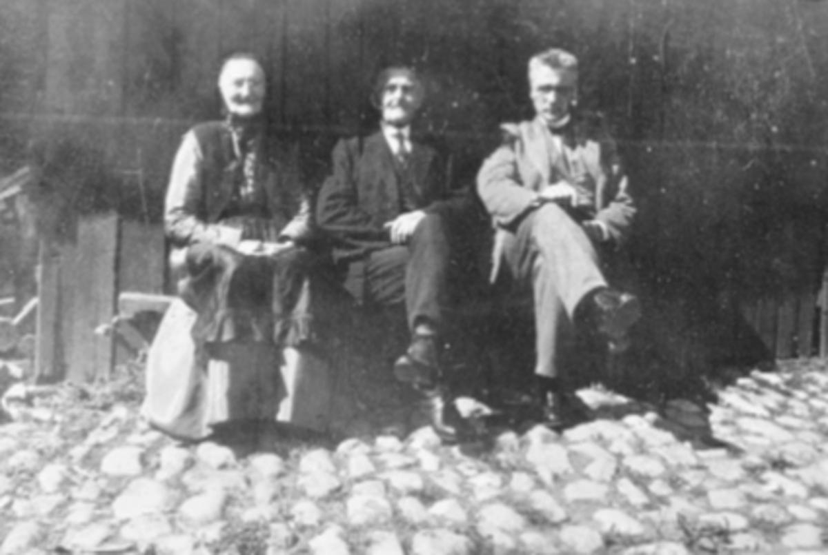 GRUPPE, AGNETHE SANDBERG, ELIAS SANDBERG, MALERMESTER SIMEN KNUTSEN. GRUPPE, AGNETHE SANDBERG, F. MYHR, ELIAS SANDBERG, MALERMESTER SIMEN KNUTSENKOMMENTAR: Agnethe var født Myhr. Begge var fra Vang. Deres datter Elise var altså gift med Simen, på bildet. Man kan anta at hun tok bildet. Elias gjorde det rimelig bra i flere yrker, men han var inntil han døde skreddermester i Hamar.