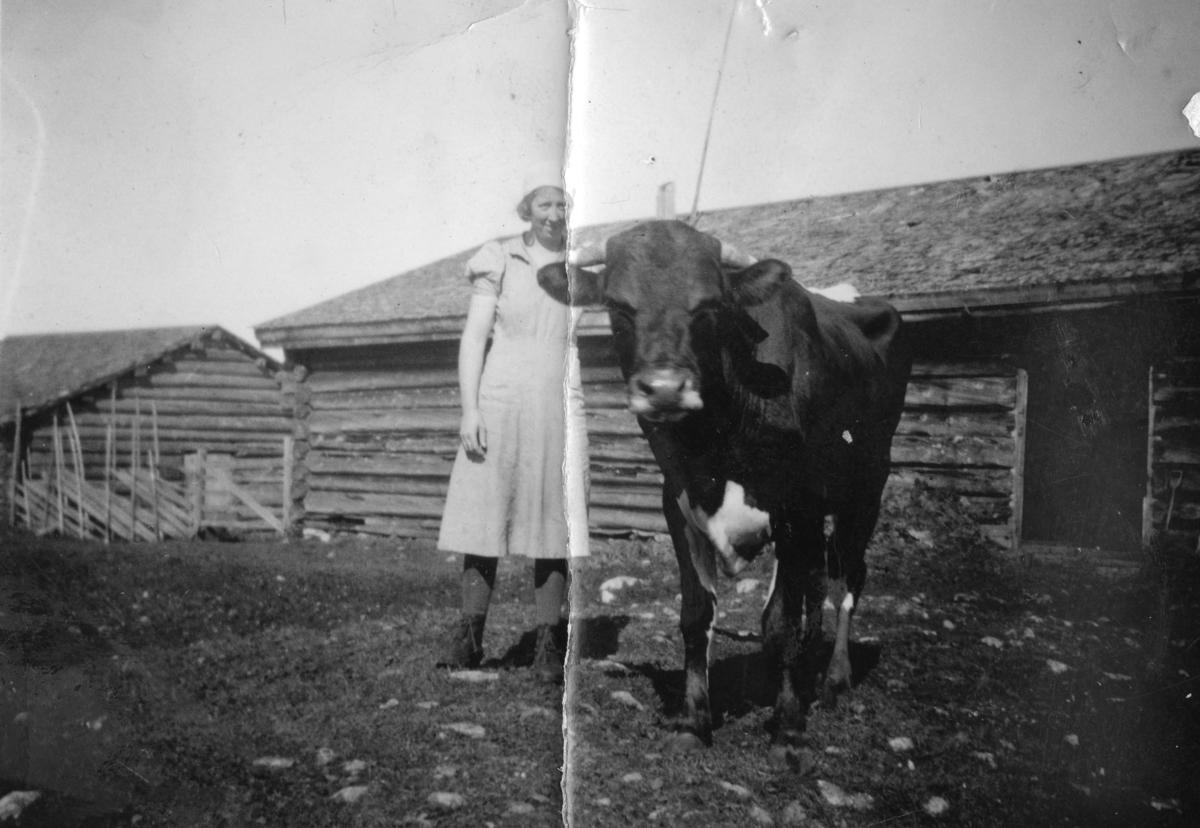En kvinne med oks