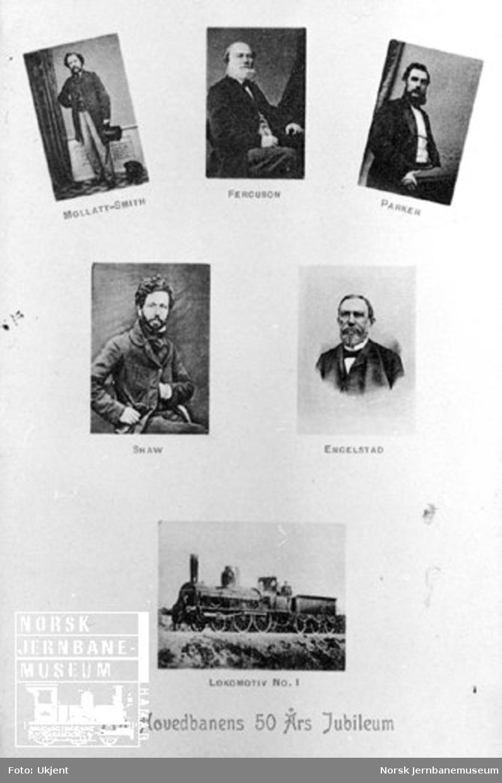 Postkort fra Hovedbanens 50 års-jubileum med bilder av Mollatt-Smith, Ferguson, Parker, Shaw og Engelstad samt lokomotiv nr. 1
