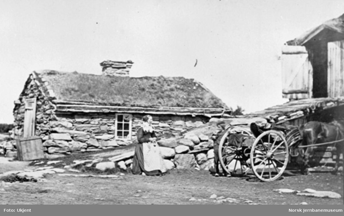 Gård i Rørostraktene med hus bygget av stein, noe av låvebrua, bondekona, en gutt og en hest med vogn i forgrunnen