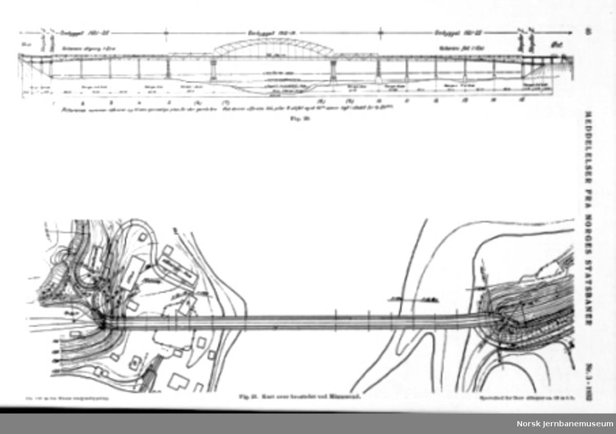 Tegning av Minnesund bru fra NSB Tekniske Meddelelser nr. 3/1932
