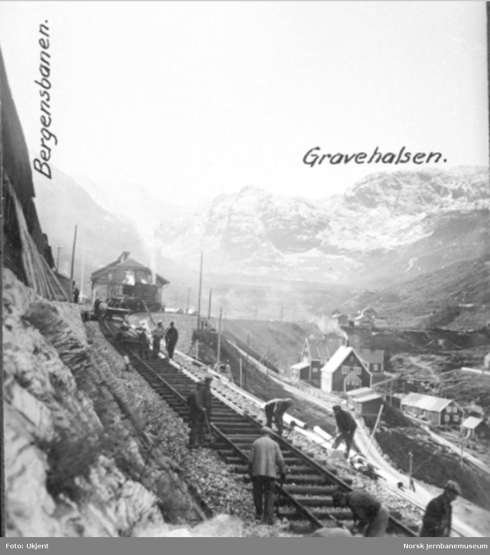 Den første skinnelengden på Flåmsbana ut fra Myrdal stasjon legges