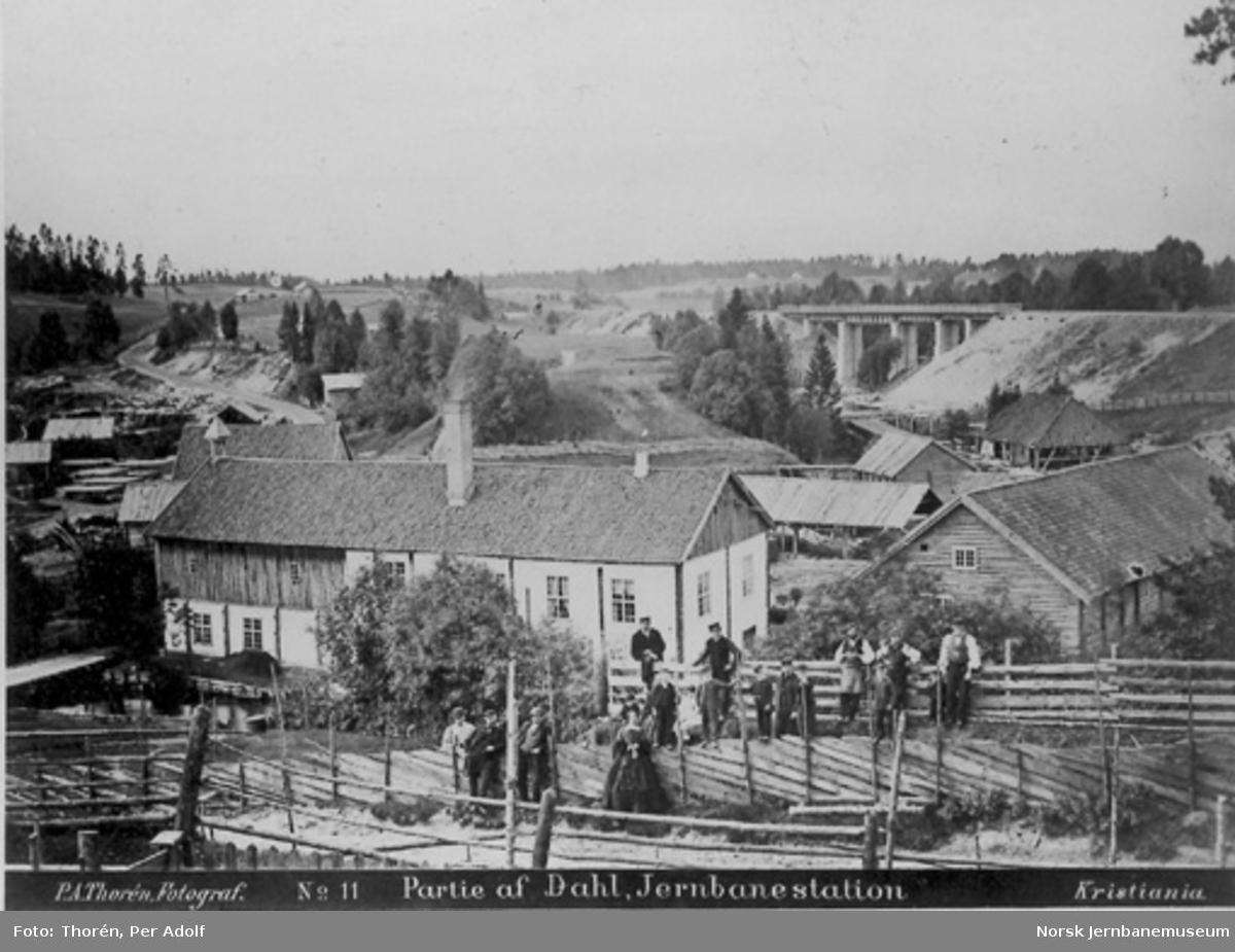 Dal med bebyggelsen og den nye Dal bru fra 1864 i bakgrunnen