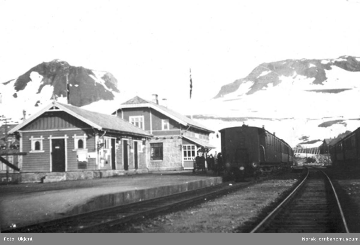Finse stasjon med vestgående tog i spor 1