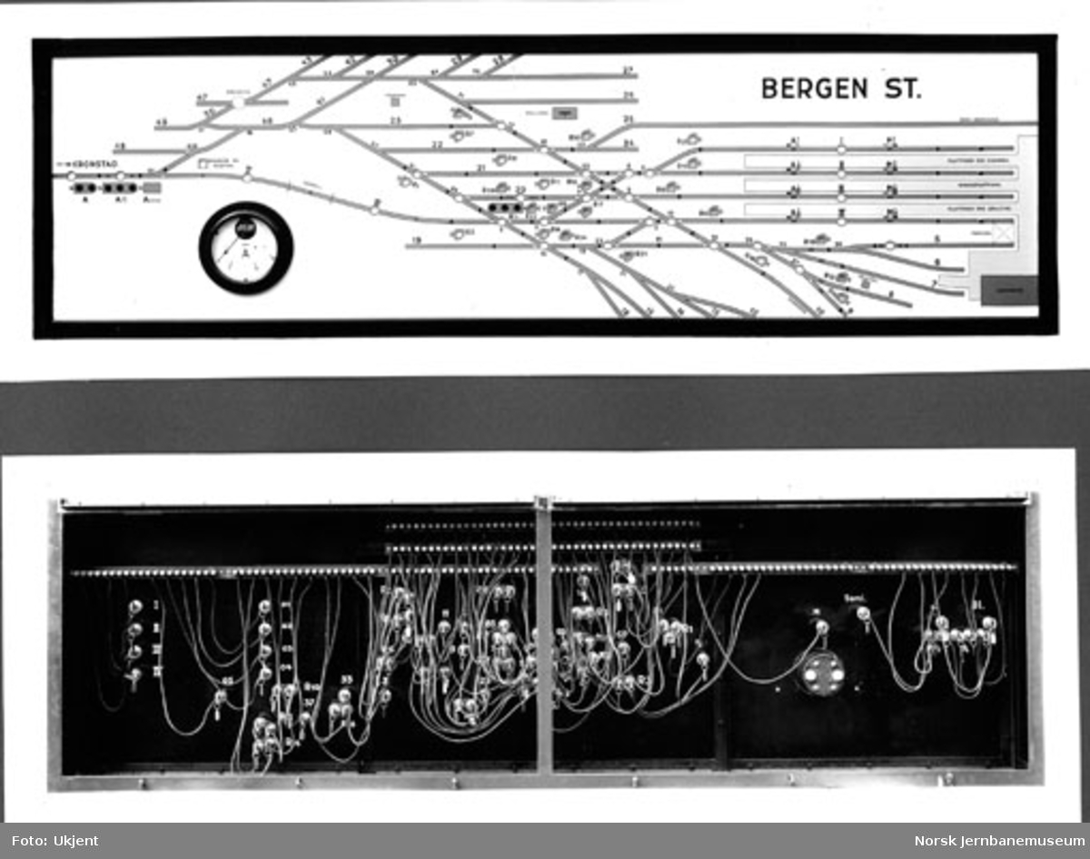 Stillverkspanel og del av sikringsanlegg Bergen stasjon