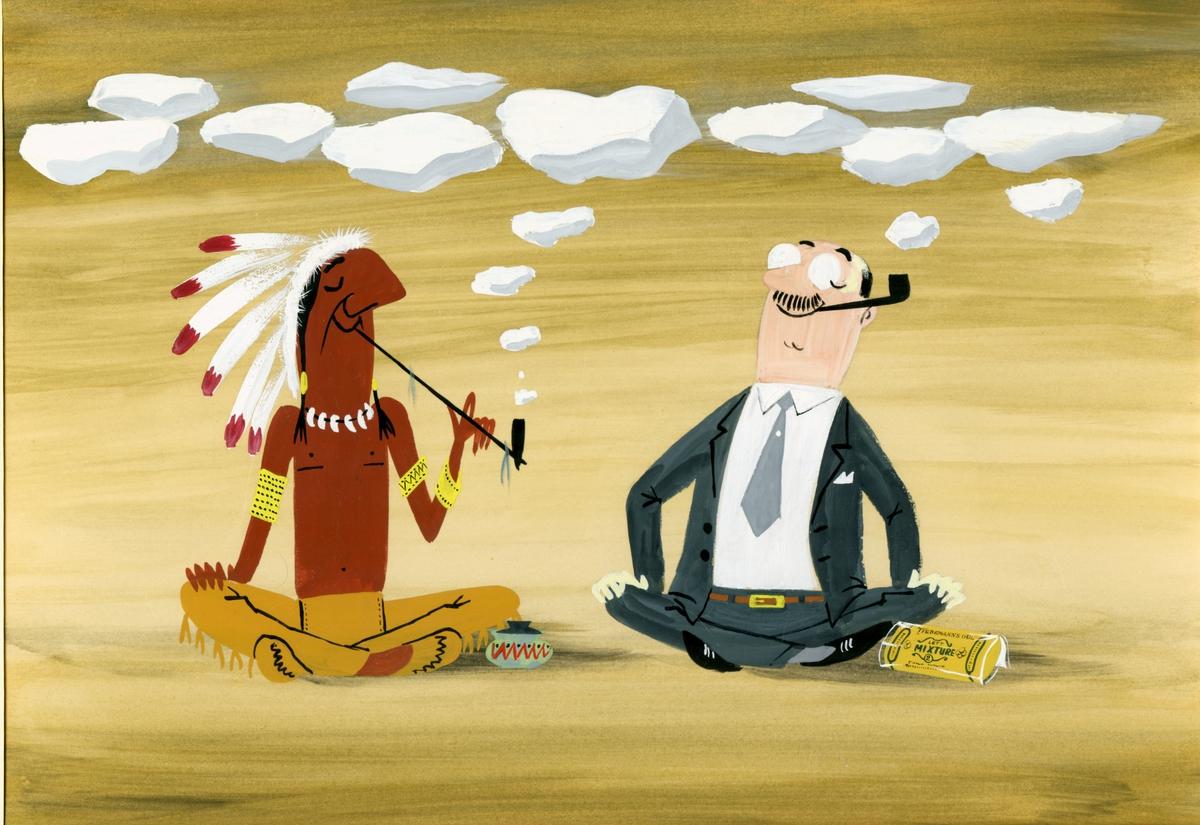 Akvarell av mann og indianer sittende og røke pipe. Ved siden av en pakke Tiedeamnns Gul Lett  Mixture 2. Humoristisk.