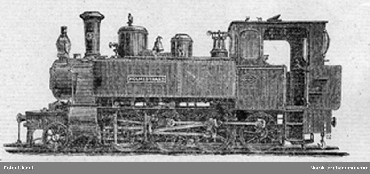 "Foto av Holmestrand-Vittingfossbanens damplokomotiv nr. 1 ""Holmestrand"" fra banens aksjebrev"