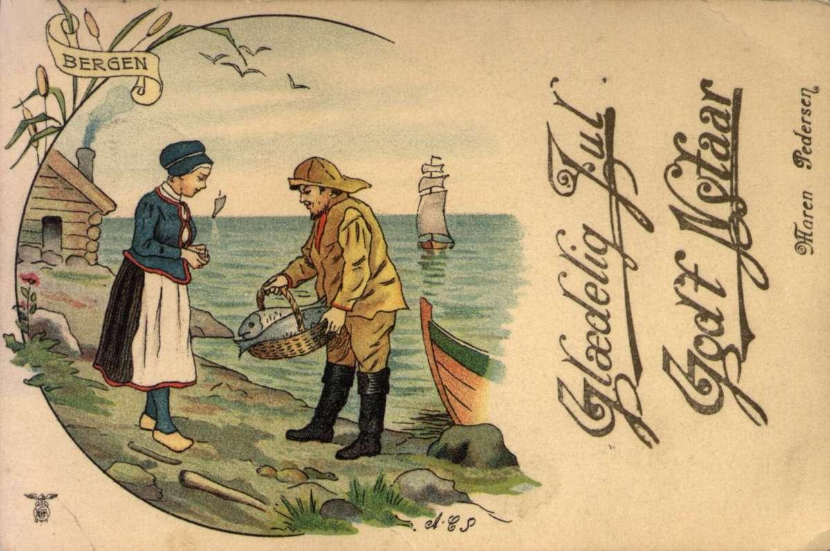 Julekort. Jule- og nyttårshilsen. Fisker med fangst til kvinne på stranden. Laget for Maren Pedersen. Stemplet 26.12.1906.