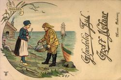 Julekort. Jule- og nyttårshilsen. Fisker med fangst til kvi
