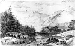 "LandvikFra skissealbum av John W. Edy, ""Drawings Norway 180"