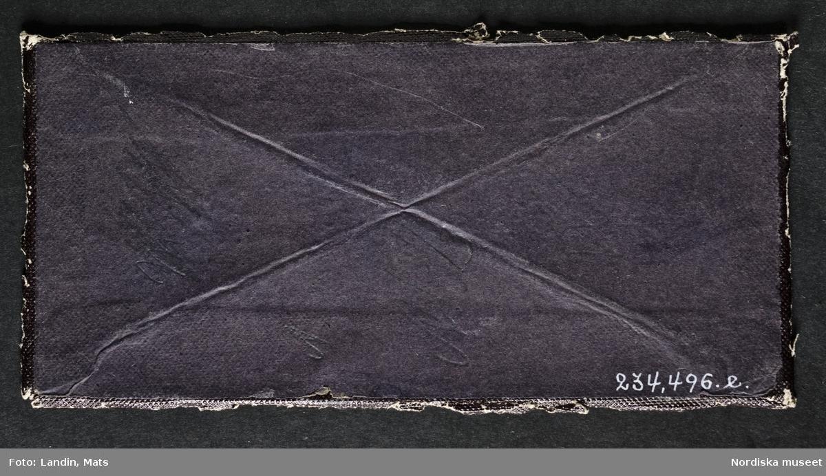 Handkolorerad stereoskopbild av stående naken kvinna, höftbild, fas. Pärlhalsband och blomsterkorg handkolorerade i starka färger. Passepartout och bakstycke av svart papper. Dagerrotyp / daguerreotyp, ca 1855. Nordiska museet inv.nr 234496e. - Standing female nude with hand-painted pearl necklace holding a flower basket. Daguerreotype, c. 1855, 6,7 x 6,7 cm.