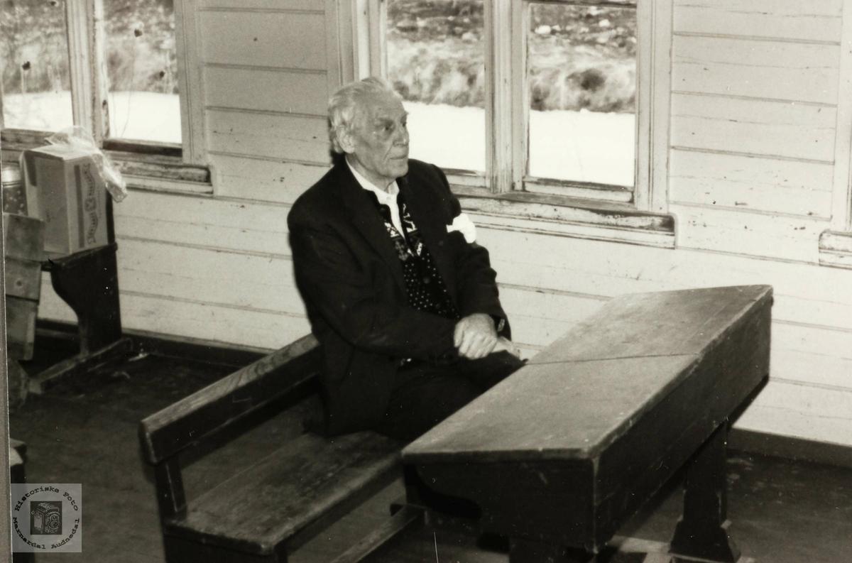 Torkel Leland på den gamle pulten hans på det gamle skulehuset i Selandsdalen, Grindheim.