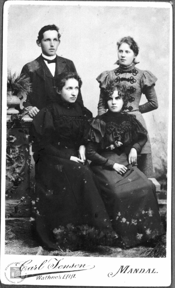 Portrett av ukjent gruppe, trolig søskenbilde fra Konsmoområdet.
