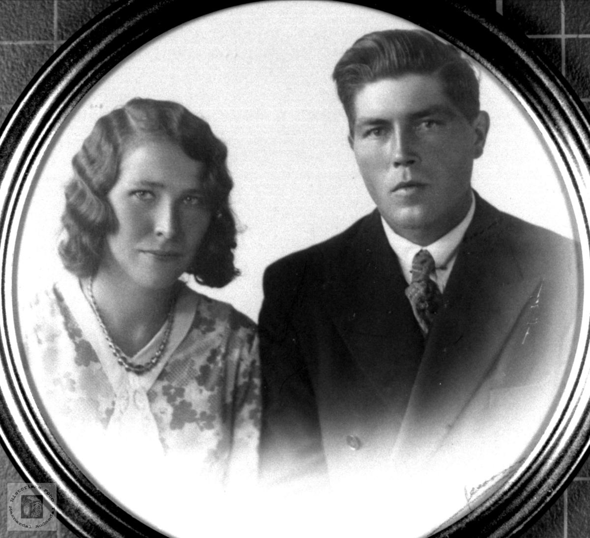 Ekteparet Reidar og Bertha Abelseth. Bjelland.