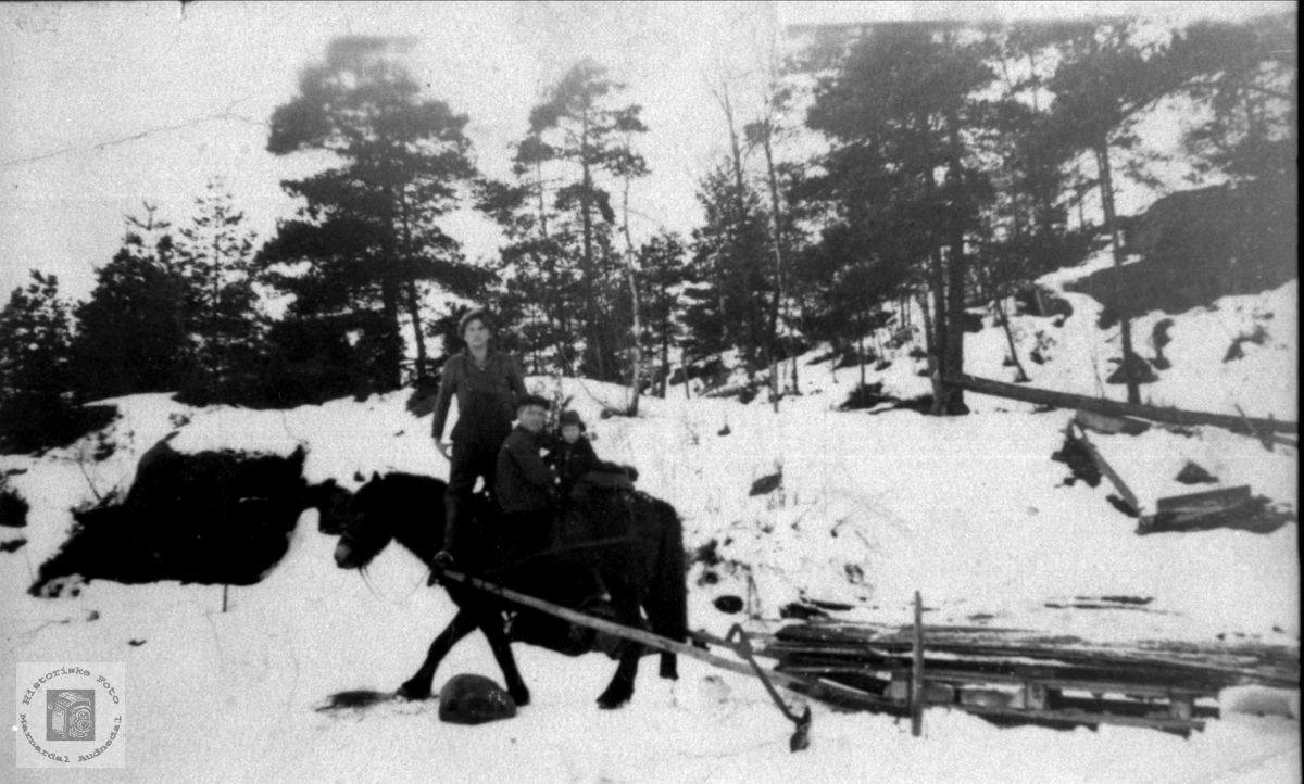 Til hest. Olav Lindland. Sigmund og Gunnar Tjomsland, Laudal.