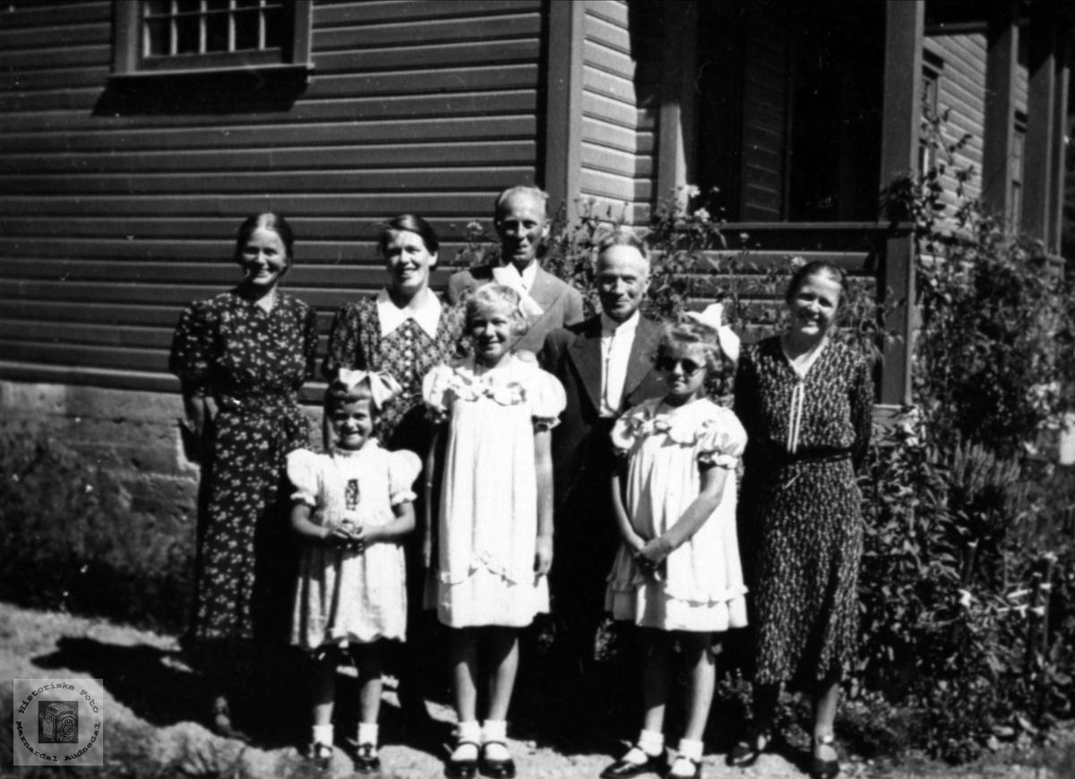 Representanter fra familiene Mindrebø, Bjørgsvik, Vestrheim, Nuland, Aukland og Aasland.
