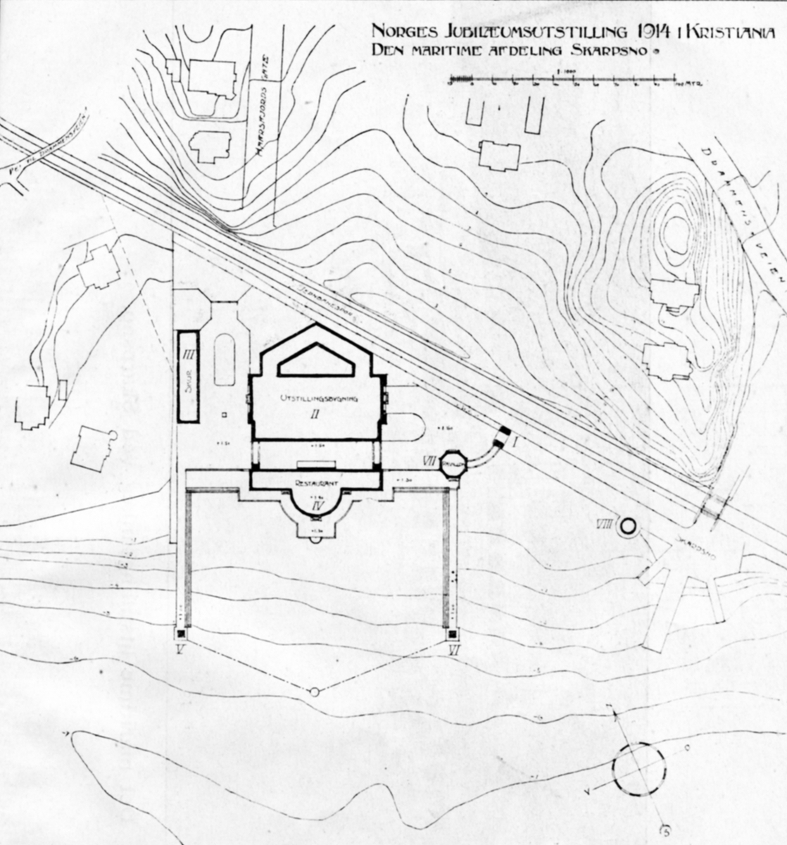 Kart over den maritime avdelingen på Skarpsno. - Jubileumsutstillingen på Frogner 1914.