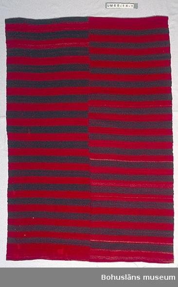 """594 Landskap BOHUSLÄN Filt vävd i två våder. Ihopsydd på mitten med längsgående söm. Vävd av handspunnet entrådigt ullgarn. Med 4-6 cm breda ränder i omväxlande bruntonat rött och blåtonat svart. Det röda garnet växtfärgat troligen med krapp. Datering utifrån uppgift på katalogkort från äldre katalogisering. Text på katalogkortet: """" """"Jens töser"""" - Anna o Maria på Kroken (Hunnebohed) ha spunnit o vävt denna filt. Ullen är af våra får på Bokenäs prästgård. Jag tror att mor färgade det röda, men de färgade det rödbruna efter en tradition som jag tror funnits i Bokenäs. Sådant skulle det vara. (Sådant understruket.) Anna och Maria gingo nog hädan senast 1940. Vävd c:a 1910-20."""" Troligen är detta uppgifter som nedtecknats  i samband med att filten skänktes till museet.  Konserverad; kanter kring alla hål nersydda mot tyglappar på baksidan. 990 Omkatalogiserat 1997-12-08 VBT  Ur punktnummerkatalogen 1958-1976: Astrid Dibbelt, Bokenäs 1 filt av ylle Bokenäs g:a prästgård"""