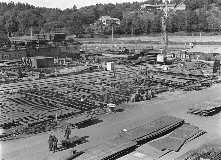 Kölsträckning av fartyget 164 M/T Thorsvaag.
