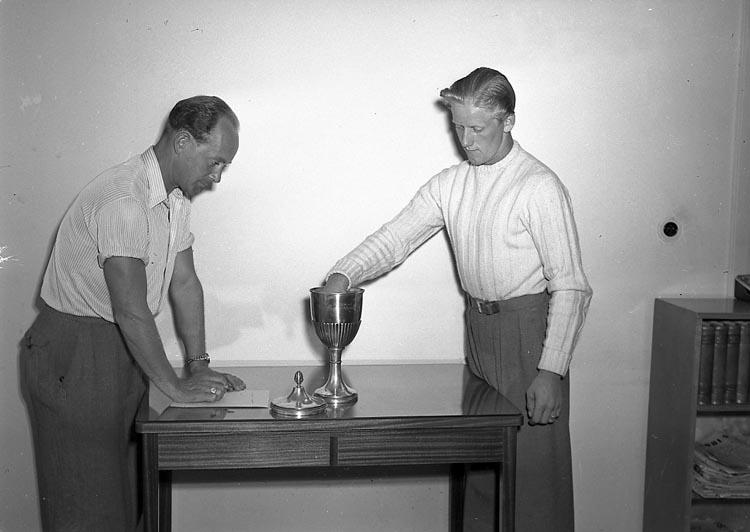 """Enligt notering: """"Lottning i Pojkcupen 15/7 1947""""."""