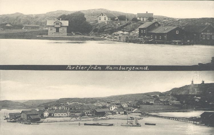 """Tryckt text på kortet: """"Partier från Hamburgsund"""". ."""