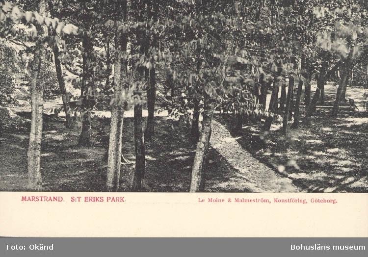 """Tryckt text på kortet: """"Marstrand. St. Eriks Park."""" """"Le Moine & Malmström, Konstförlag, Göteborg."""""""