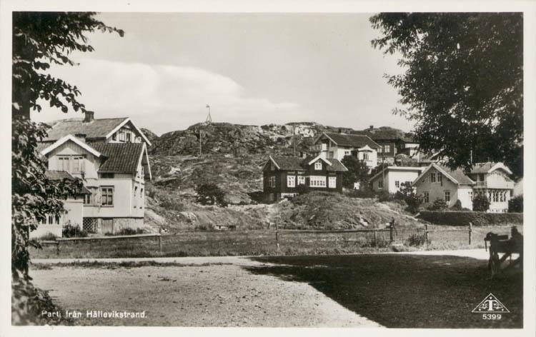 """Tryckt text på kortet: """"Parti från Hällevikstrand."""" Noterat på kortet: """"Hällevikstrand Morlanda sn. Orust. 8 Okt. 1955."""""""