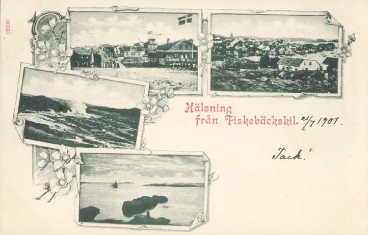 """Tryckt text på kortet: """"Hälsning från Fiskebäckskil."""" ::"""