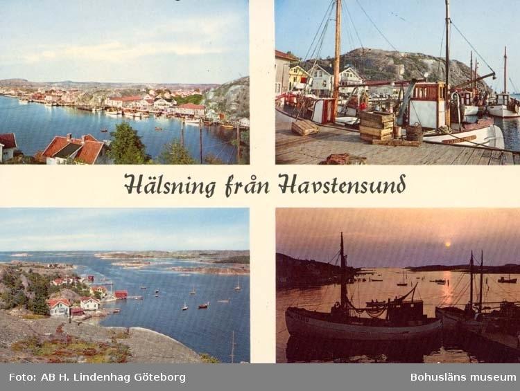 """Tryckt text på kortet: """"Hälsning från Havstensund"""". Noterat på kortet: """"Havstenssund."""""""