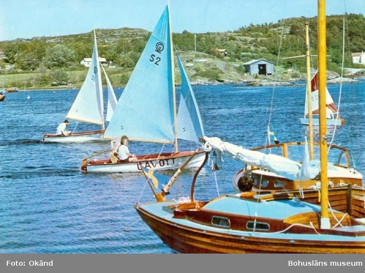 """Tryckt text på kortet: """"Bohuslän. Segling i de natursköna fjordarna."""" Noterat på kortet: """"Nordströmmarna."""""""