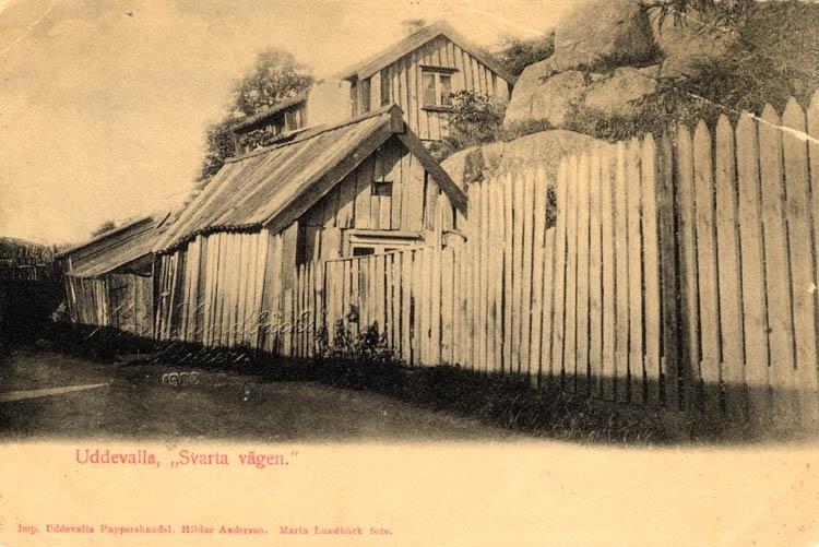 """Tryckt text på vykortets framsida: """"Uddevalla Svarta vägen."""" Handskriven text på vykortets baksida: """"1902 Östra staden Gåva av Stjarnstrom 1918."""""""