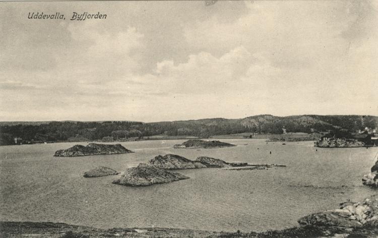 """Tryckt text på vykortets framsida: """"Uddevalla, Byfjorden.""""  ::"""