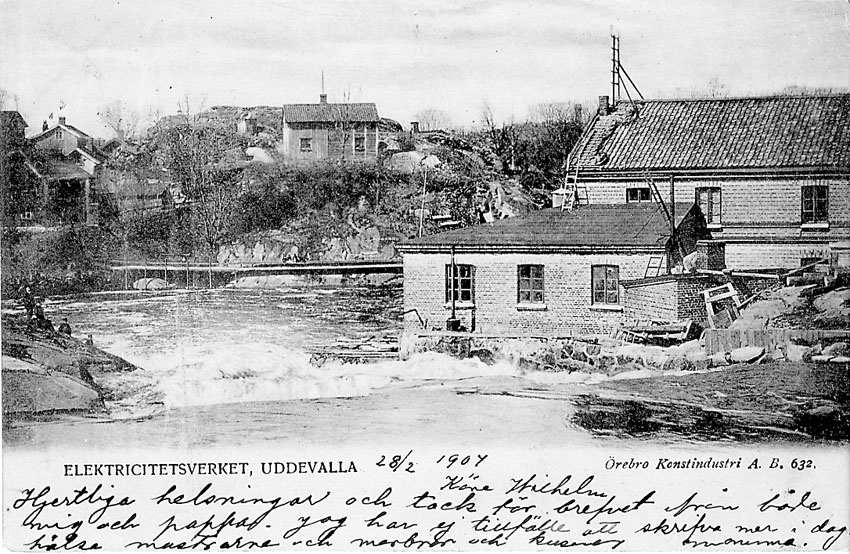 """Tryckt text på vykortets framsida: """"Elektricitetsverket Uddevalla"""".  ::"""