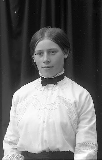 """Enligt fotografens journal Lyckorna 1909-1918: """"Gustafsson, Fr. Gerda Gullborga, Svenshögen""""."""