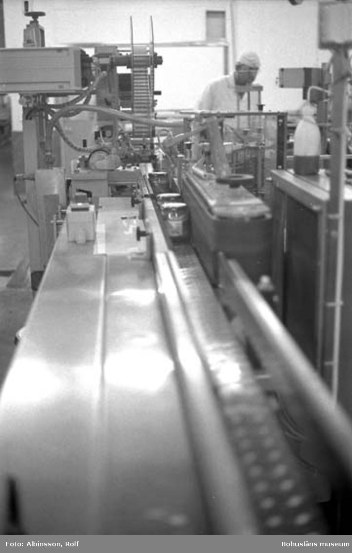 """Enligt fotografens noteringar: """"Här får glasburkarna etikett, locken får datummärkning.""""  Fototid: 1996-03-14."""