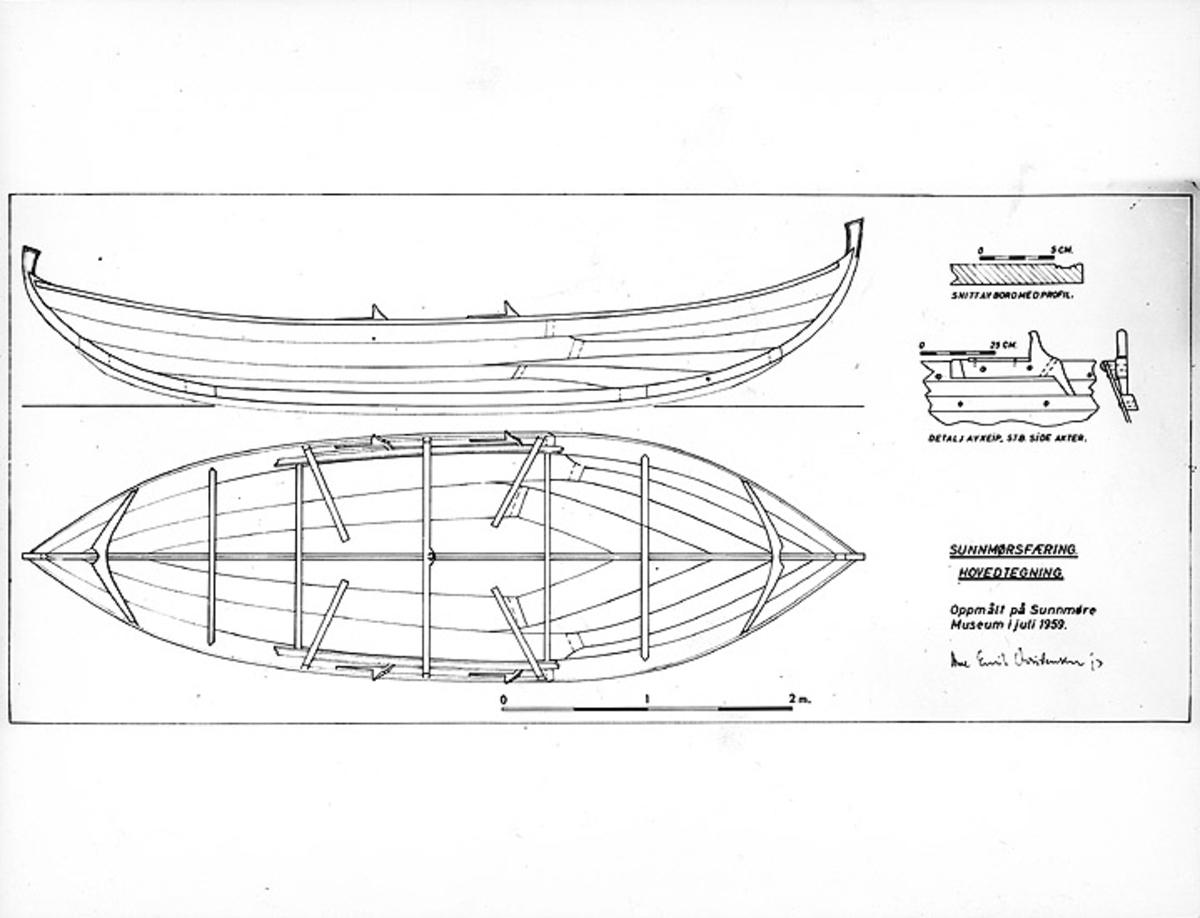 Skrivet på baksidan: Uppmålning av liten ?-båt fra Sunnmöre, Vestnogre, byggd 1850-1900.
