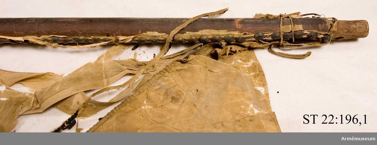Duken ursprungligen ljusröd med svart St Andreaskors. I översta fältet syns det heraldiska vapnet för den litauiske storhetmanen Mykolas Servacijus Visnioveckis (Michal Serwaci Wisniowiecki). I nedersta fältet som nu är förlorat har enligt Hoffmans avbildning årtalet 1704 varit målat.