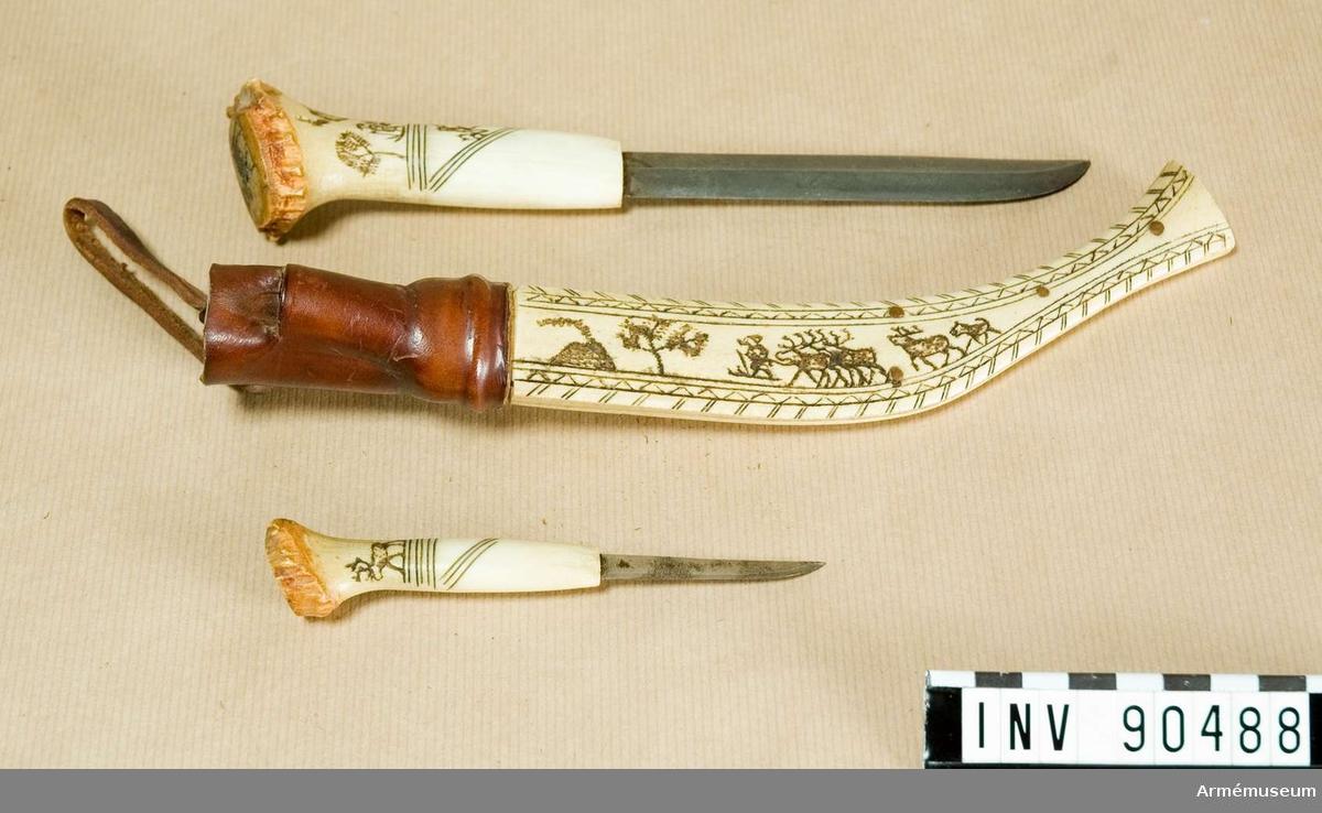 Samisk kniv med bikniv, svensk.